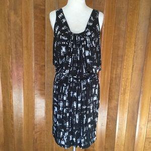 Loft Black & White Abstract Print Sleeveless Dress